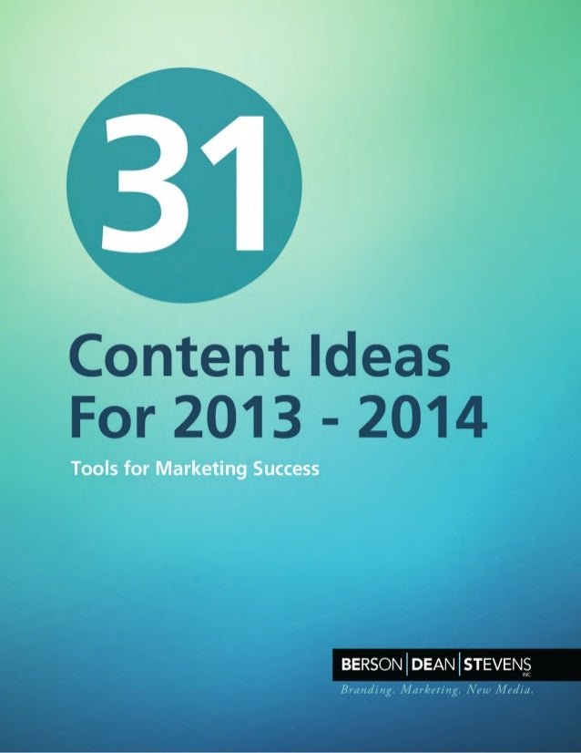31 Content Marketing Ideas for 2013-2014