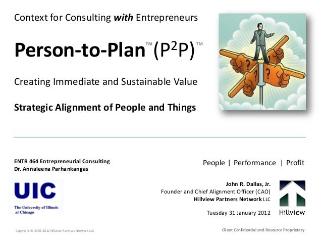 Context for Consulting with Entrepreneurs Person-to-Plan (P2P) Creating Immediate and Sustainable Value Strategic Alignmen...