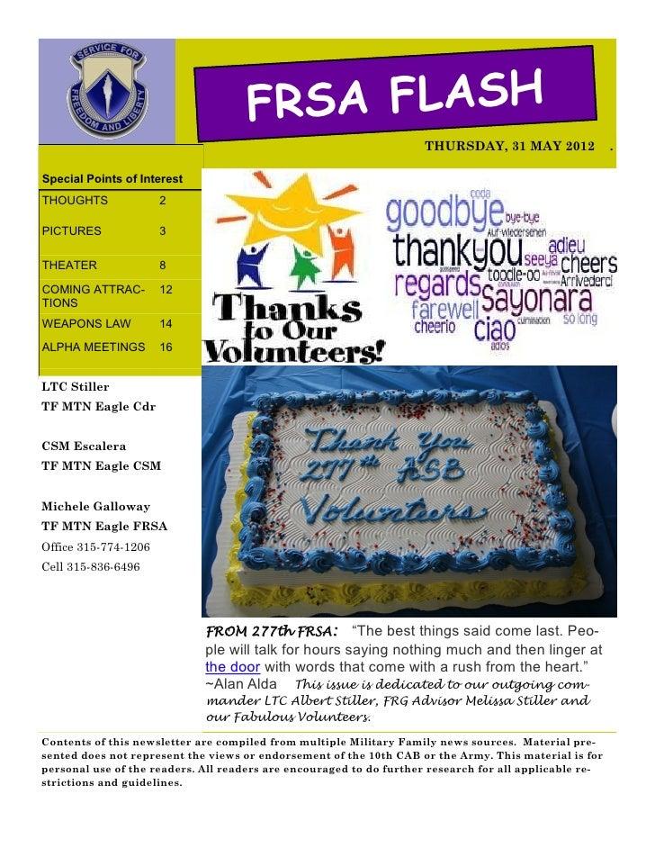 FRSA FLASH                                                                    THURSDAY, 31 MAY 2012               .Special...