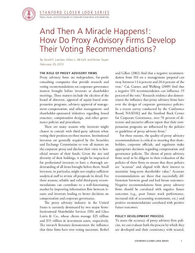 CGRP31--And then a Miracle Happens!: How Do Proxy Advisory Firms Develop Their Voting Recommendations?