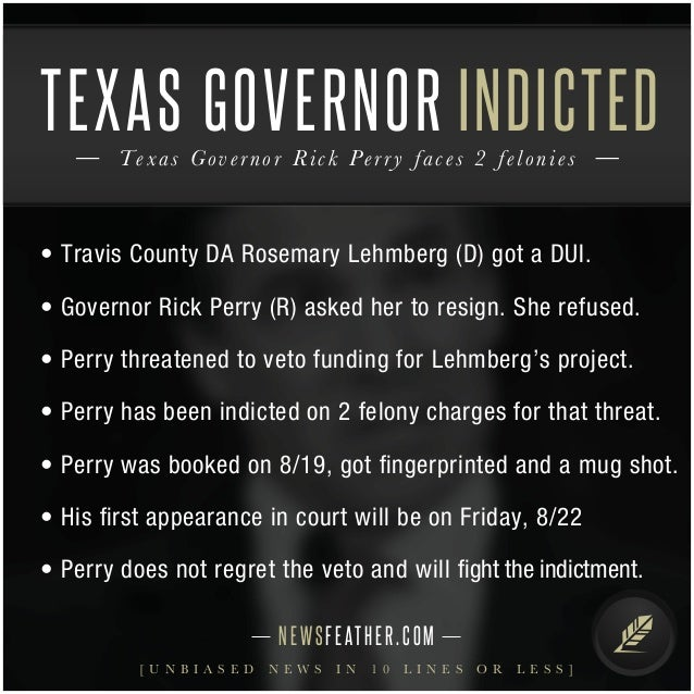 Texas Governor Rick Perry indicted on 2 felonies