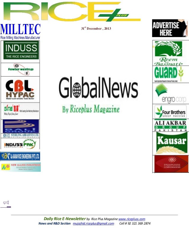 31st december,2013 daily oryza news by riceplus magazine