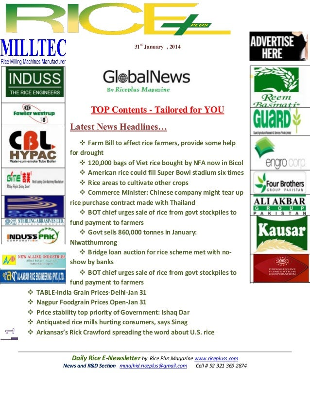 31st January , 2014  TOP Contents - Tailored for YOU Latest News Headlines…         Farm Bill to affect rice farmers...