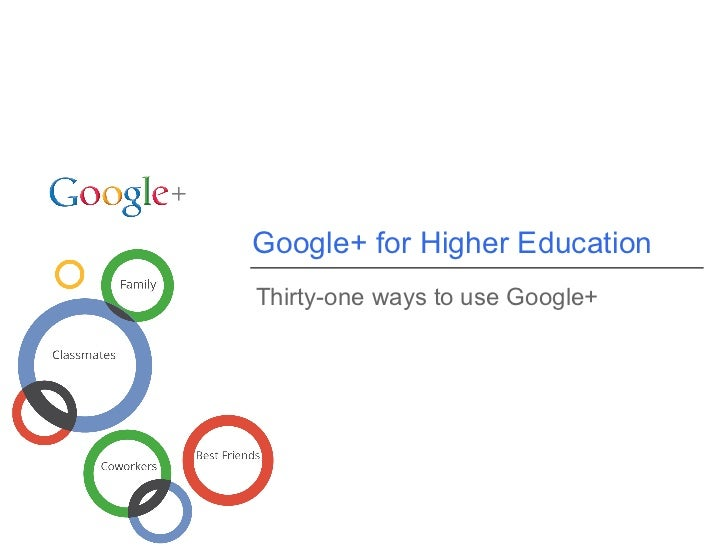 Google+ for Higher EducationThirty-one ways to use Google+