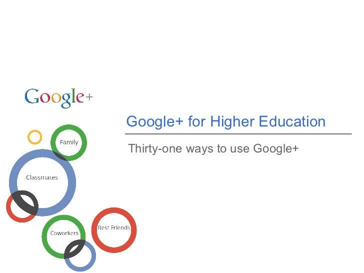 Usos de Google Plus en la educación superior