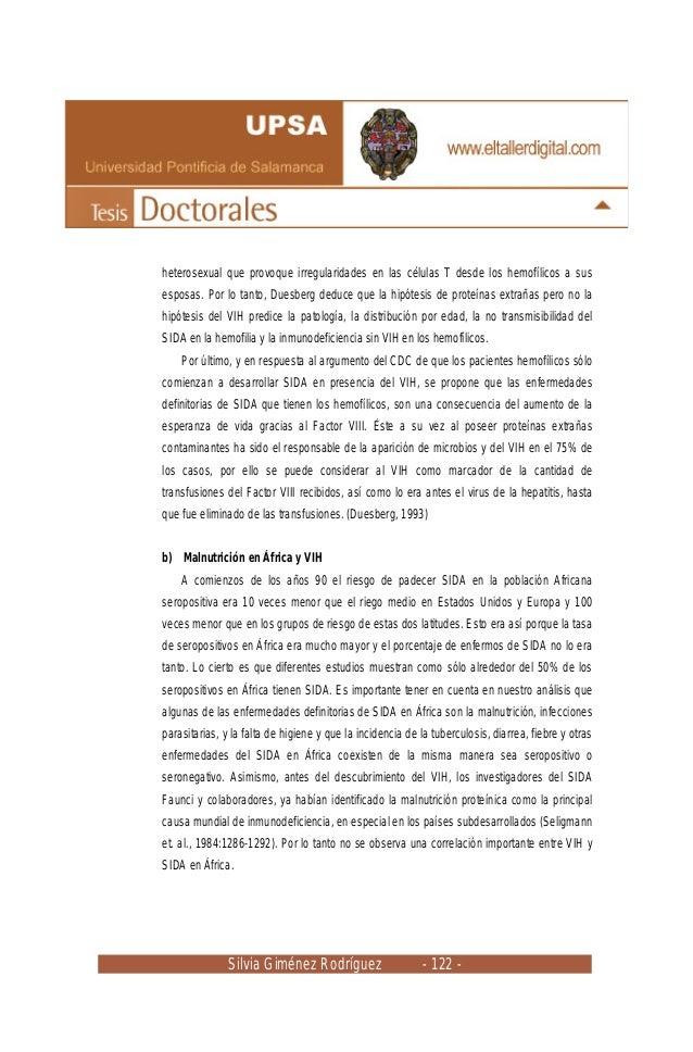 Silvia Giménez Rodríguez - 122 - heterosexual que provoque irregularidades en las células T desde los hemofílicos a sus es...