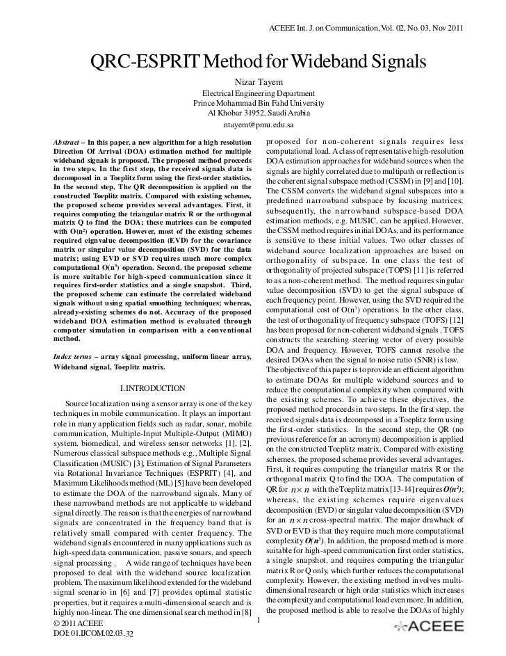 ACEEE Int. J. on Communication, Vol. 02, No. 03, Nov 2011           QRC-ESPRIT Method for Wideband Signals                ...