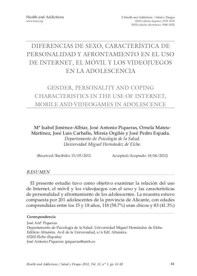 61 Health and Addictions  © Health and Addictions / Salud y Drogas www.haaj.org ISSN edición impresa: 1578-5319  ISSN edic...