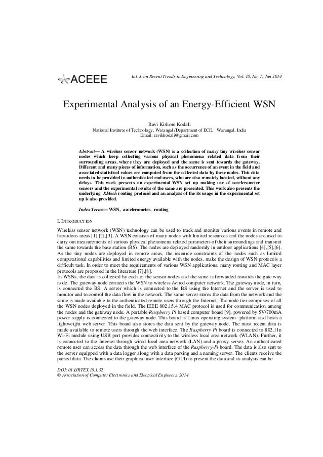 Int. J. on Recent Trends in Engineering and Technology, Vol. 10, No. 1, Jan 2014  Experimental Analysis of an Energy-Effic...