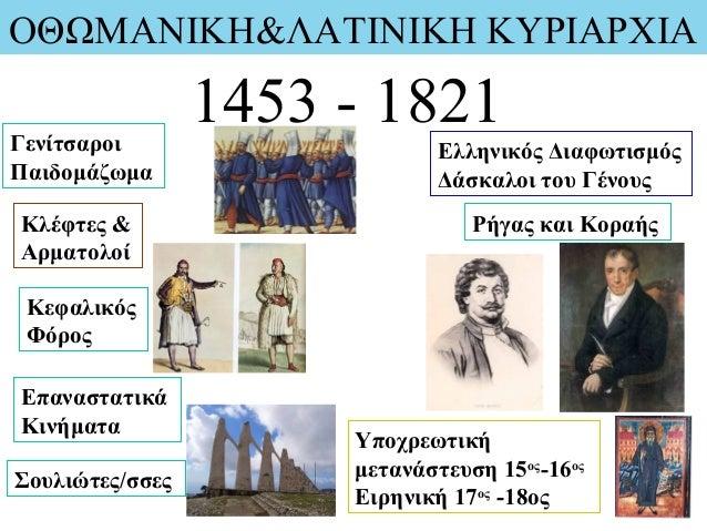 ΟΘΩΜΑΝΙΚΗ&ΛΑΤΙΝΙΚΗ ΚΥΡΙΑΡΧΙΑ 1453 - 1821Γενίτσαροι Παιδομάζωμα Ελληνικός Διαφωτισμός Δάσκαλοι του Γένους Υποχρεωτική μεταν...
