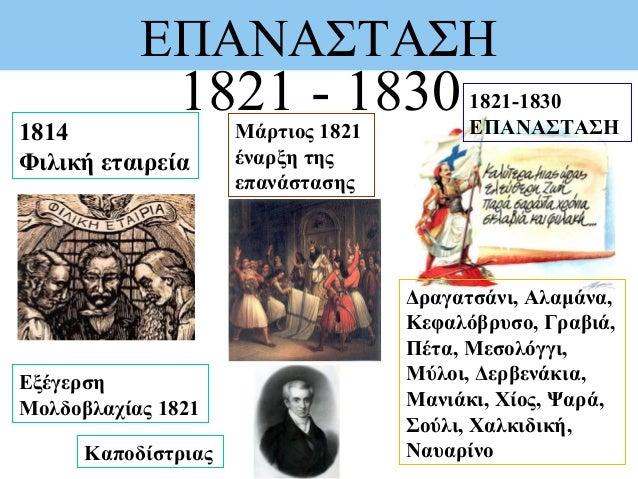 ΕΠΑΝΑΣΤΑΣΗ 1821 - 1830 Εξέγερση Μολδοβλαχίας 1821 1821-1830 ΕΠΑΝΑΣΤΑΣΗ Δραγατσάνι, Αλαμάνα, Κεφαλόβρυσο, Γραβιά, Πέτα, Μεσ...