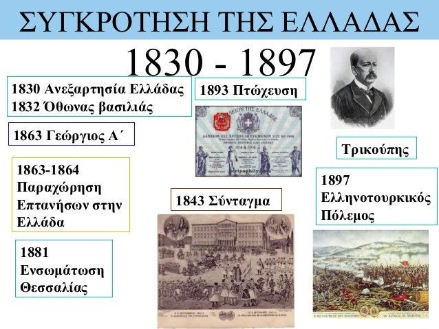ΣΥΓΚΡΟΤΗΣΗ ΤΗΣ ΕΛΛΑΔΑΣ 1830 - 18971830 Ανεξαρτησία Ελλάδας 1832 Όθωνας βασιλιάς 1863 Γεώργιος Α΄ 1863-1864 Παραχώρηση Επτα...