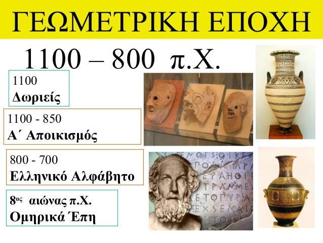 ΓΕΩΜΕΤΡΙΚΗ ΕΠΟΧΗ 1100 – 800 π.Χ. 1100 Δωριείς 1100 - 850 Α΄ Αποικισμός 800 - 700 Ελληνικό Αλφάβητο 8ος αιώνας π.Χ. Ομηρικά...