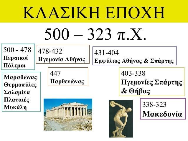 ΚΛΑΣΙΚΗ ΕΠΟΧΗ 500 – 323 π.Χ. 500 - 478 Περσικοί Πόλεμοι 338-323 Μακεδονία 431-404 Εμφύλιος Αθήνας & Σπάρτης 478-432 Ηγεμον...