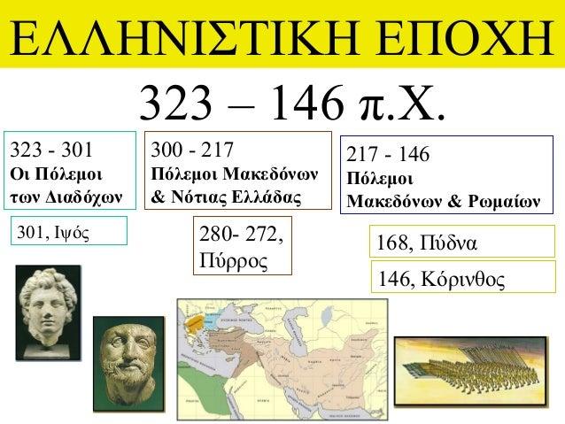 ΕΛΛΗΝΙΣΤΙΚΗ ΕΠΟΧΗ 323 – 146 π.Χ. 323 - 301 Οι Πόλεμοι των Διαδόχων 217 - 146 Πόλεμοι Μακεδόνων & Ρωμαίων 300 - 217 Πόλεμοι...