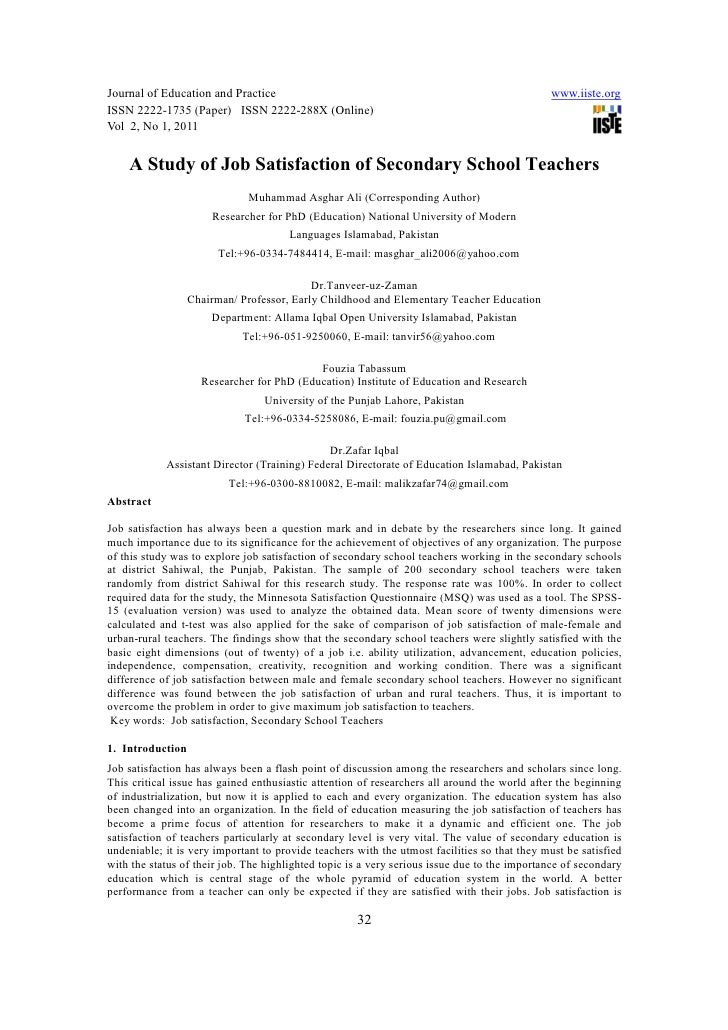 [32 37]a study of job satisfaction of secondary school teachers