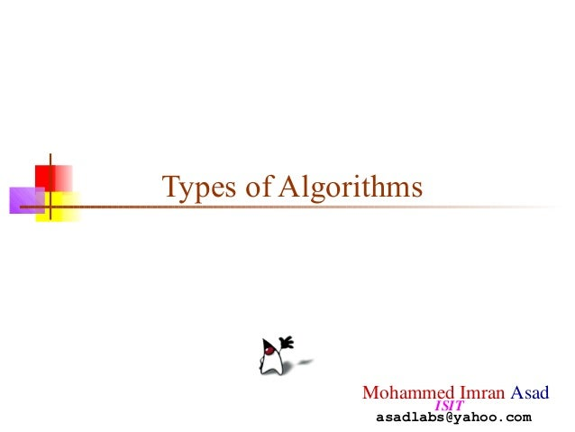 Types of Algorithms Mohammed Imran Asad ISIT asadlabs@yahoo.com