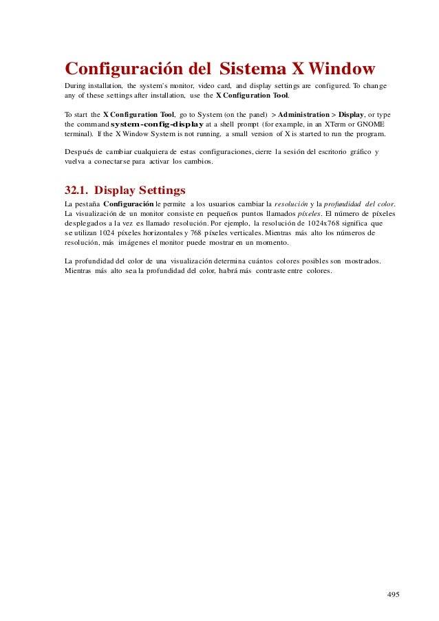 32  configuración del sistema x window