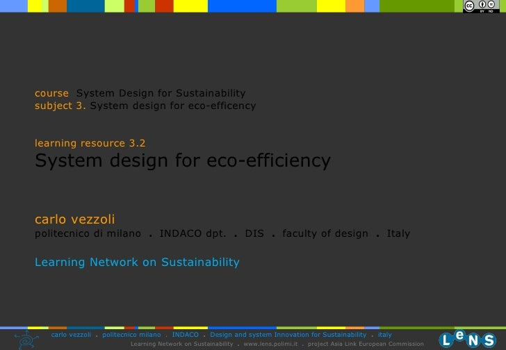 3.2 System Design For Eco Efficiency Vezzoli 07 08 (28.10.08)