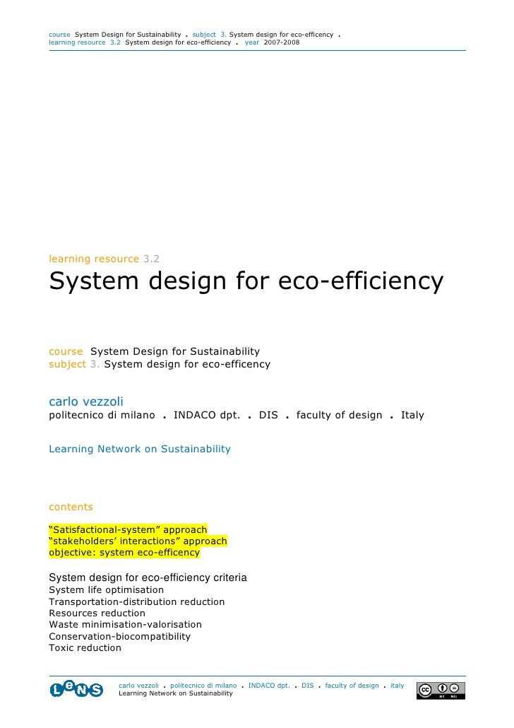 course System Design for Sustainability . subject 3. System design for eco-efficency . learning resource 3.2 System design...