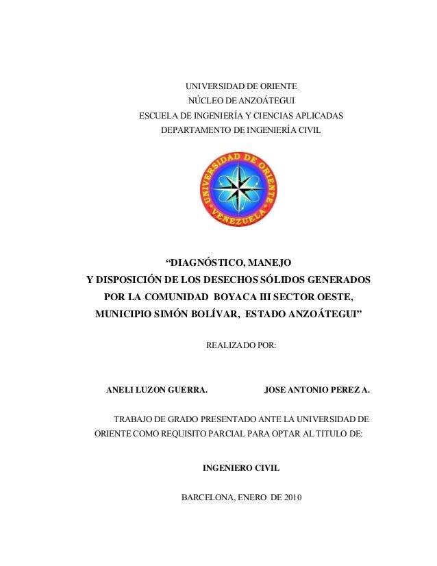 """UNIVERSIDAD DE ORIENTENÚCLEO DE ANZOÁTEGUIESCUELA DE INGENIERÍA Y CIENCIAS APLICADASDEPARTAMENTO DE INGENIERÍA CIVIL""""DIAGN..."""