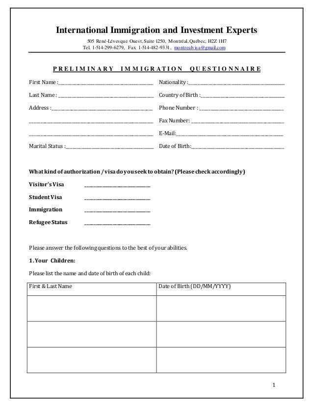 Preliminary immigration questionnaire - Grille d evaluation immigration quebec ...