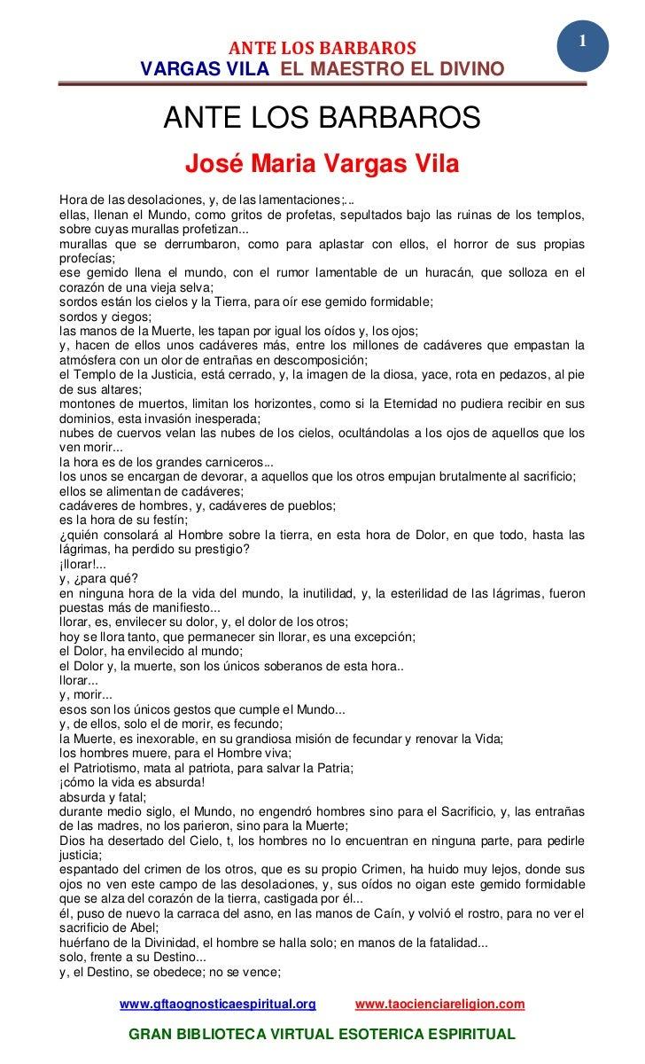 ANTE LOS BARBAROS                                                       1              VARGAS VILA EL MAESTRO EL DIVINO   ...