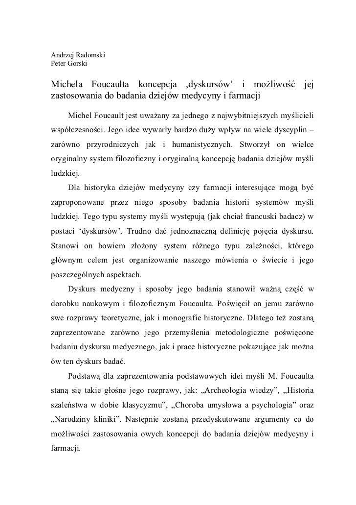 Andrzej RadomskiPeter GorskiMichela Foucaulta koncepcja ,dyskursów' i możliwość jejzastosowania do badania dziejów medycyn...