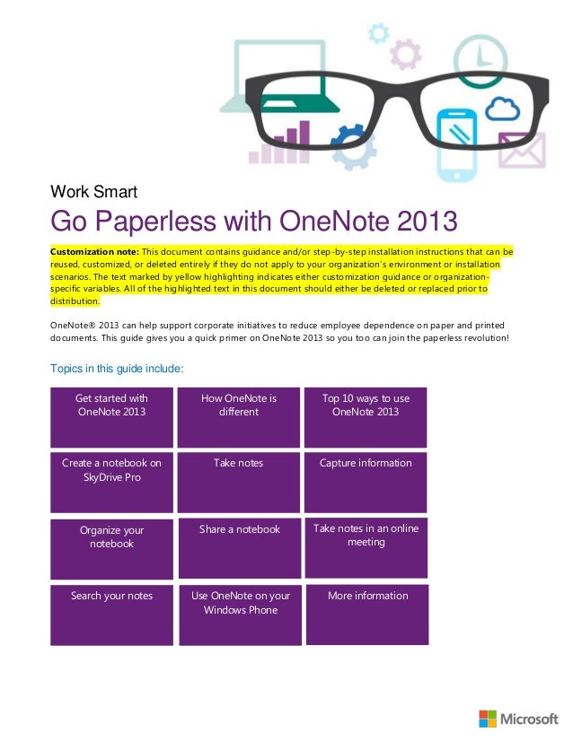 Work SmartGo Paperless with OneNote 2013Customization note: This document contains guidance and/or step-by-step installati...