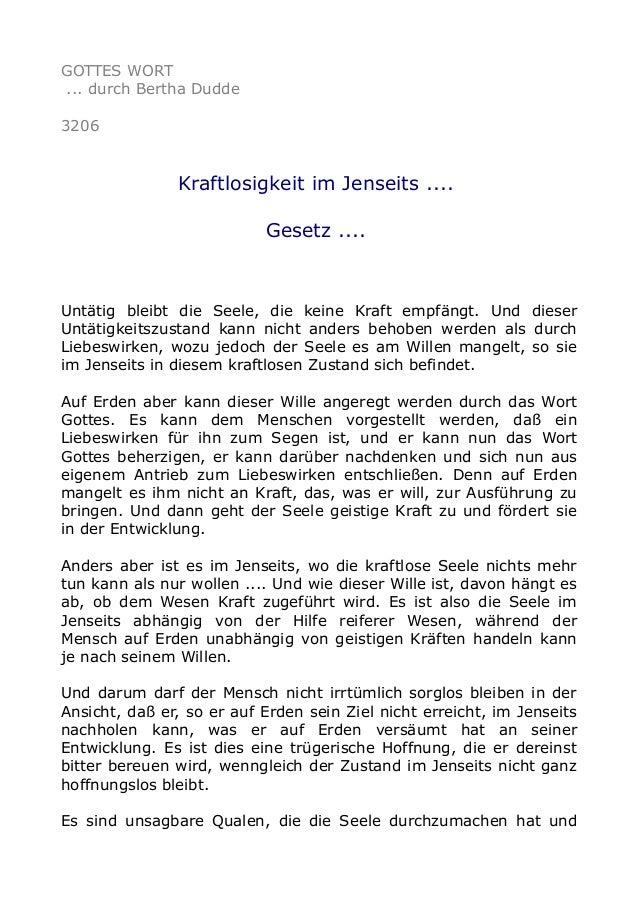 GOTTES WORT ... durch Bertha Dudde 3206 Kraftlosigkeit im Jenseits .... Gesetz .... Untätig bleibt die Seele, die keine Kr...