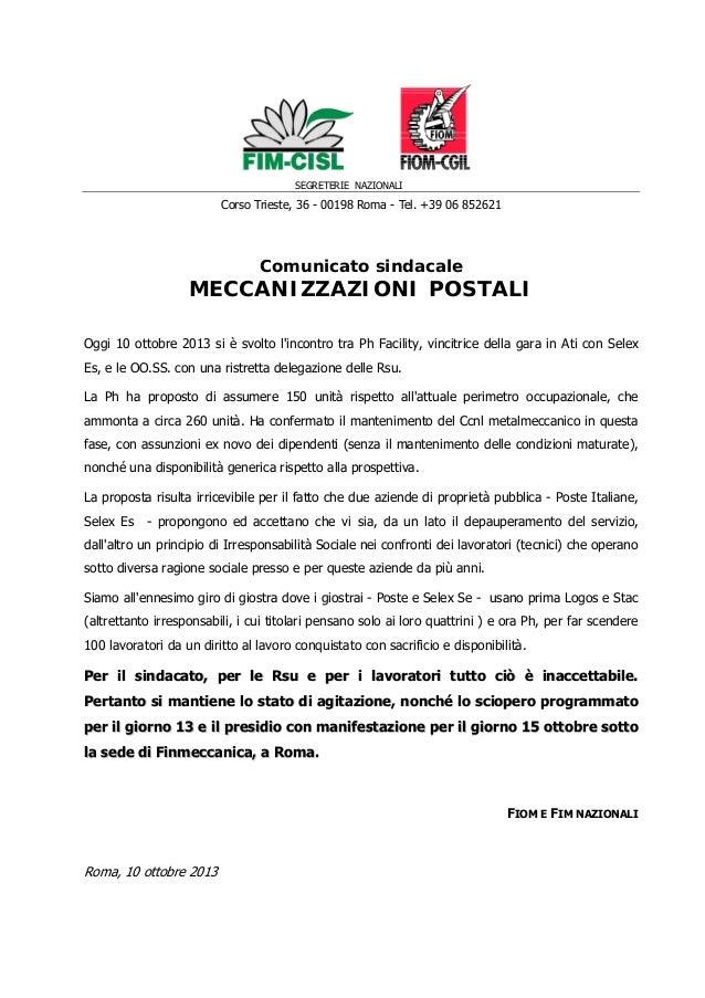 SEGRETERIE NAZIONALI Corso Trieste, 36 - 00198 Roma - Tel. +39 06 852621 Comunicato sindacale MECCANIZZAZIONI POSTALI Oggi...