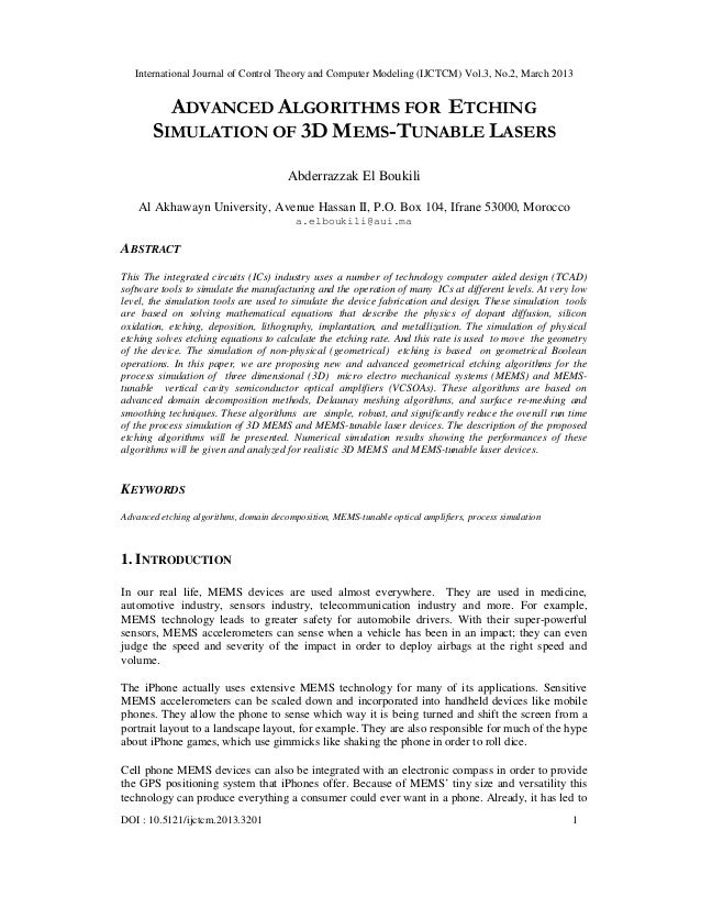 ADVANCED ALGORITHMS FOR ETCHING SIMULATION OF 3D MEMS-TUNABLE LASERS