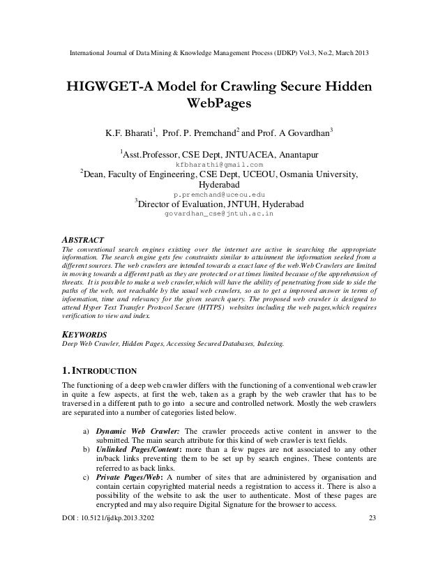 International Journal of Data Mining & Knowledge Management Process (IJDKP) Vol.3, No.2, March 2013 HIGWGET-A Model for Cr...