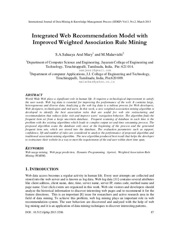 Integrated Web Recommendation Model with Improved Weighted Association Rule Mining