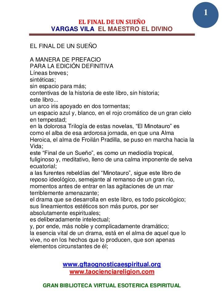 1              EL FINAL DE UN SUEÑO        VARGAS VILA EL MAESTRO EL DIVINOEL FINAL DE UN SUEÑOA MANERA DE PREFACIOPARA LA...