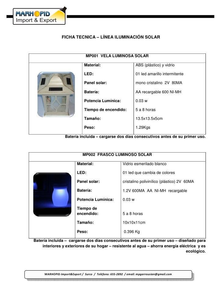 FICHA TECNICA – LÍNEA ILUMINACIÓN SOLAR                                   MP001 VELA LUMINOSA SOLAR                       ...