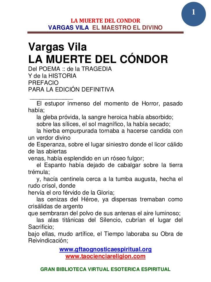 1            LA MUERTE DEL CONDOR       VARGAS VILA EL MAESTRO EL DIVINOVargas VilaLA MUERTE DEL CÓNDORDel POEMA :: de la ...
