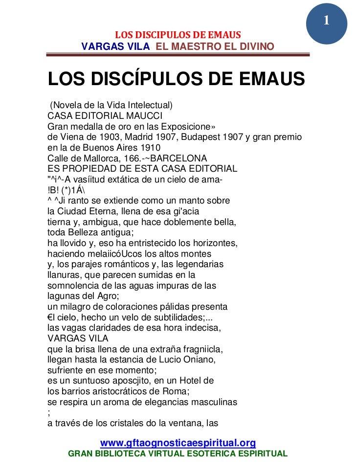 1            LOS DISCIPULOS DE EMAUS       VARGAS VILA EL MAESTRO EL DIVINOLOS DISCÍPULOS DE EMAUS  (Novela de la Vida Int...