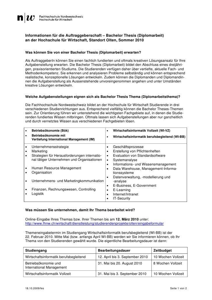 Informationen für die Auftraggeberschaft – Bachelor Thesis (Diplomarbeit) an der Hochschule für Wirtschaft, Standort Olten...