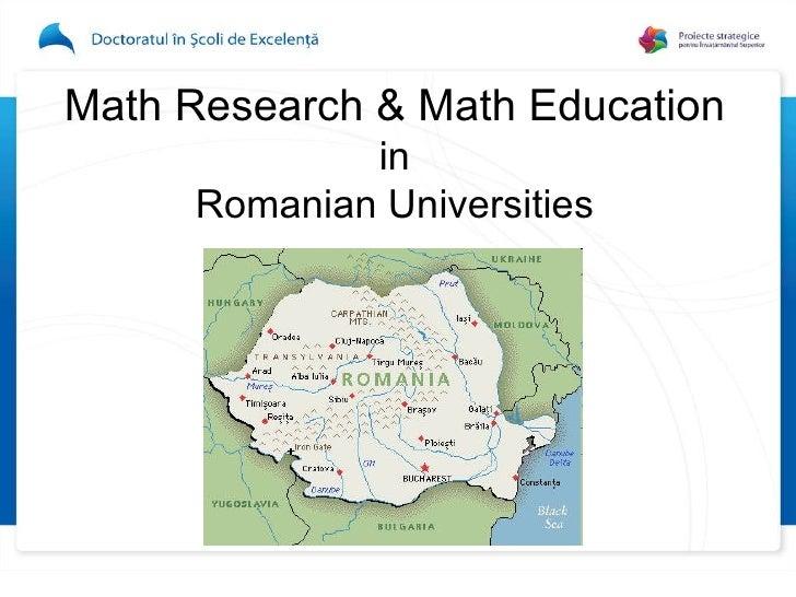 D01L03 C Niculescu - Mathematical Research and Mathematical Education
