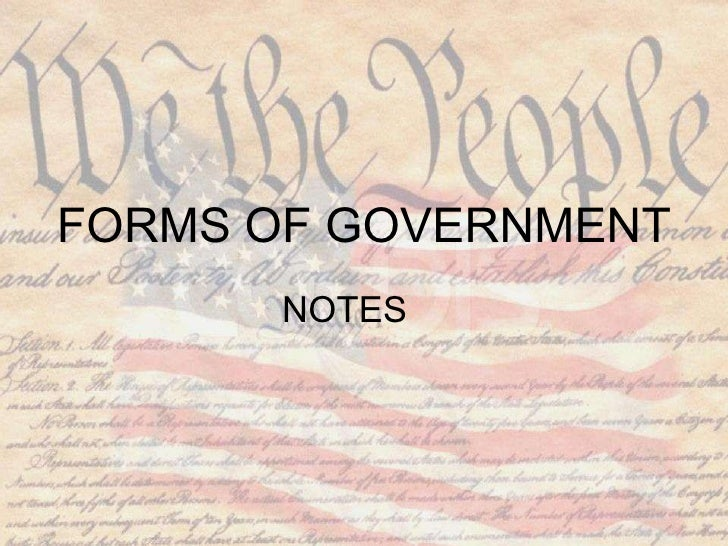 FORMS OF GOVERNMENT NOTES