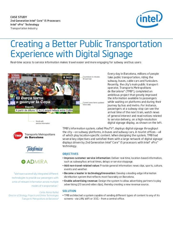 Intel - Digital Signage Whitepaper : TMB, JCDecaux & ADmira