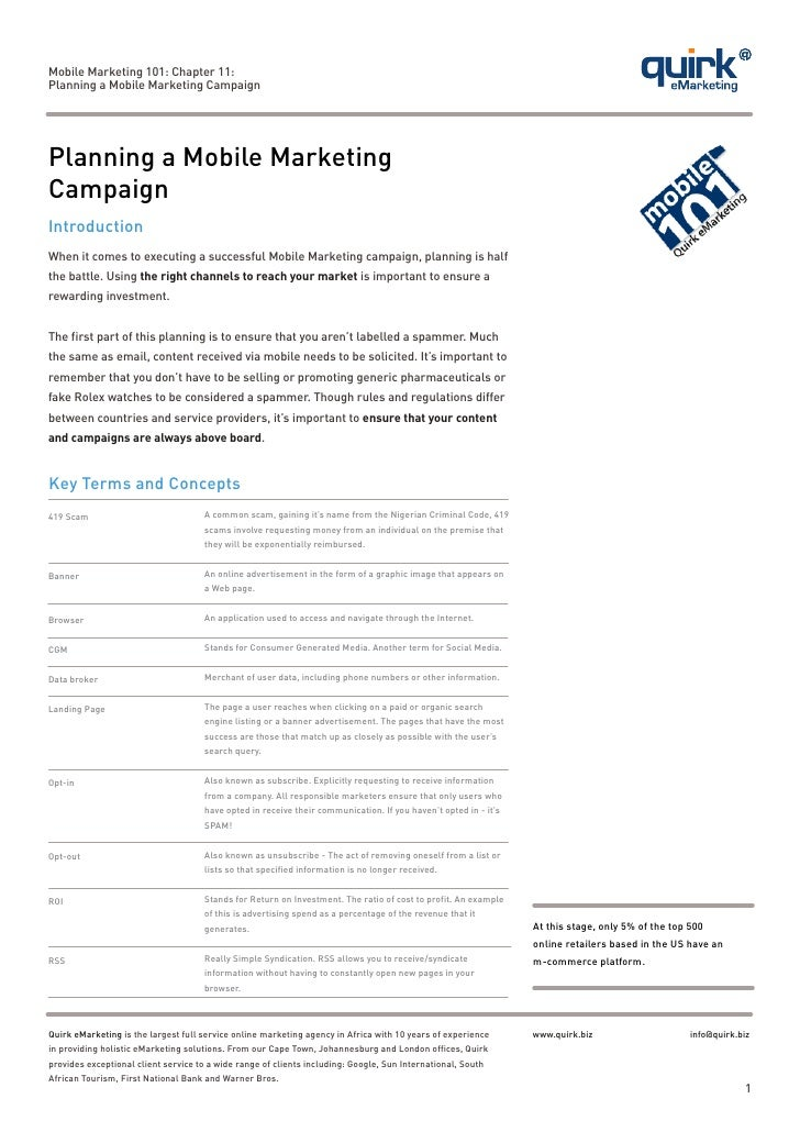 Mobile Marketing 101: Chapter 11:Planning a Mobile Marketing CampaignPlanning a Mobile MarketingCampaignIntroductionWhen i...