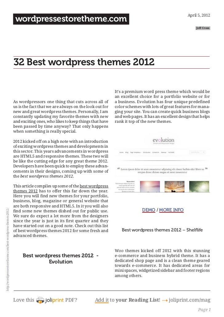 32 best wordpress themes in 2012