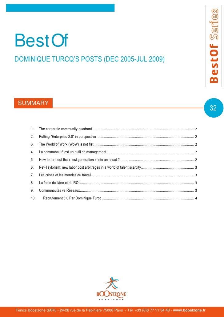 BestOfDOMINIQUE TURCQ'S POSTS (DEC 2005-JUL 2009) SUMMARY                                                                 ...