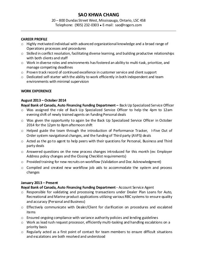 Rbc resume format