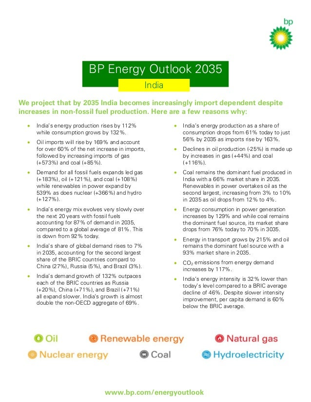 BP Energy Outlook 2035 India We project that by 2035 India becomes increasingly import dependent despite increases in non-...
