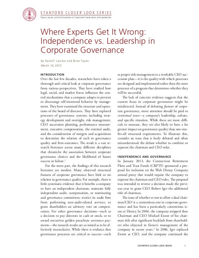 CGRP-32 Where Experts Get It Wrong: Independence vs. Leadership in Corporate Governance