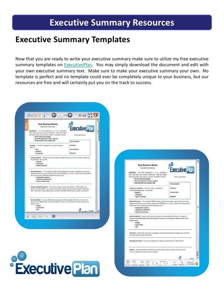 Executive Summary How to Write a Business Plan
