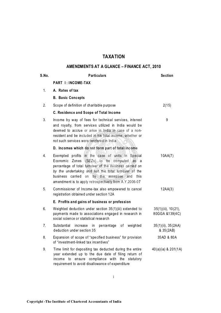 TAXATION                        AMENDMENTS AT A GLANCE – FINANCE ACT, 2010        S.No.                          Particula...